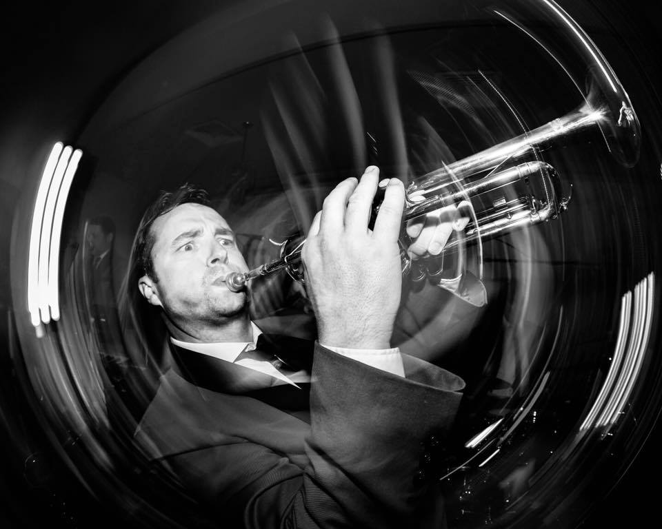 Ian Hendrick plays trumpet